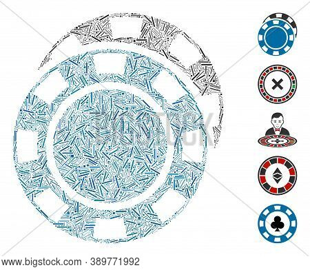 Hatch Mosaic Based On Casino Chips Icon. Mosaic Vector Casino Chips Is Formed With Randomized Hatch
