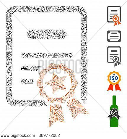 Dash Mosaic Based On Certified Diploma Icon. Mosaic Vector Certified Diploma Is Formed With Random D