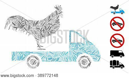 Hatch Mosaic Based On Chicken Transport Car Icon. Mosaic Vector Chicken Transport Car Is Designed Wi