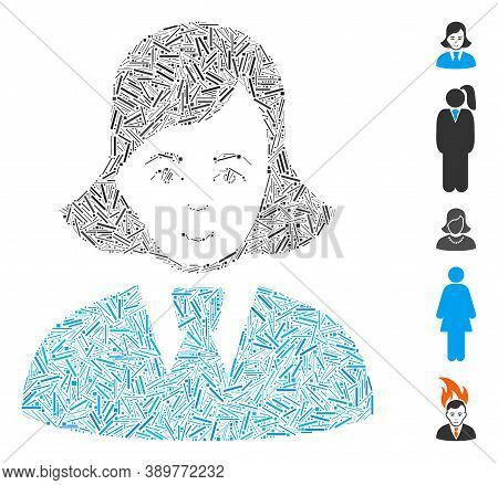 Line Mosaic Based On Clerk Lady Icon. Mosaic Vector Clerk Lady Is Designed With Random Line Items. B