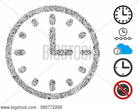 Line Mosaic Based On Clock Icon. Mosaic Vector Clock Is Composed With Random Line Dots. Bonus Icons