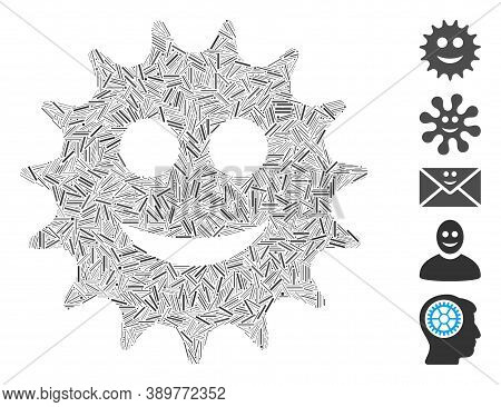 Dash Mosaic Based On Cog Smile Icon. Mosaic Vector Cog Smile Is Created With Scattered Dash Items. B