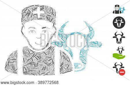 Dash Mosaic Based On Cow Veterinarian Icon. Mosaic Vector Cow Veterinarian Is Designed With Randomiz