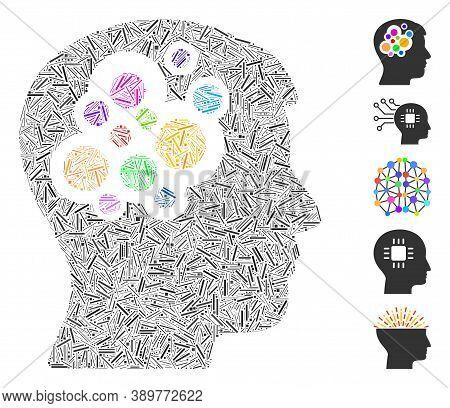 Hatch Mosaic Based On Creative Brain Icon. Mosaic Vector Creative Brain Is Designed With Random Hatc