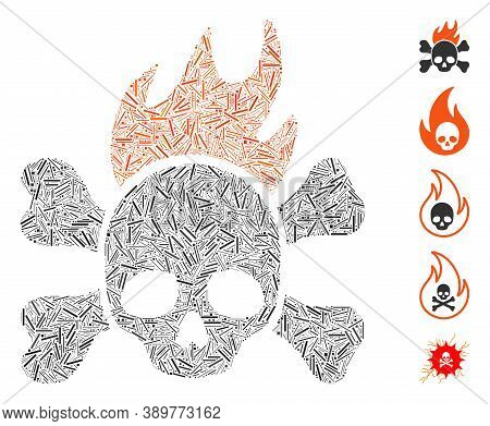 Line Mosaic Based On Death Fire Icon. Mosaic Vector Death Fire Is Created With Randomized Line Spots