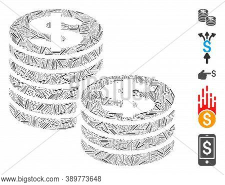 Line Mosaic Based On Dollar Coin Stacks Icon. Mosaic Vector Dollar Coin Stacks Is Formed With Random