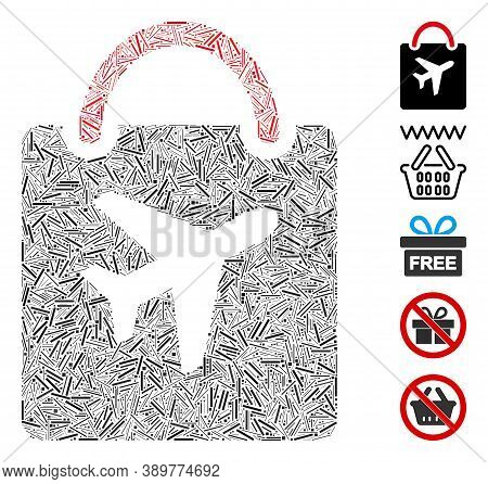 Line Mosaic Based On Duty Free Bag Icon. Mosaic Vector Duty Free Bag Is Composed With Randomized Lin