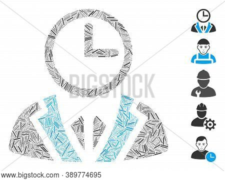 Dash Mosaic Based On Duty Person Icon. Mosaic Vector Duty Person Is Formed With Random Hatch Dots. B