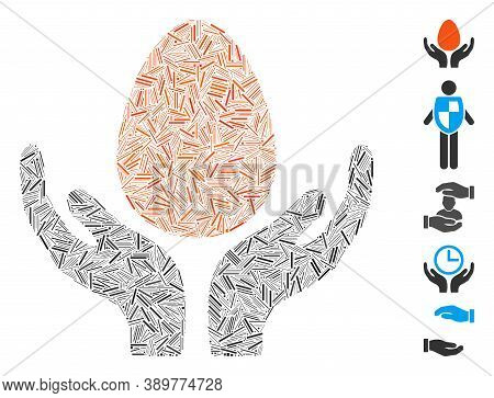 Dash Mosaic Based On Egg Incubator Hands Icon. Mosaic Vector Egg Incubator Hands Is Composed With Ra