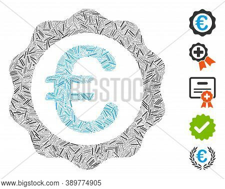 Dash Mosaic Based On Euro Award Seal Icon. Mosaic Vector Euro Award Seal Is Designed With Scattered