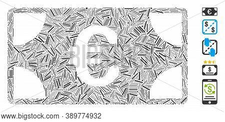 Hatch Collage Based On Euro Banknote Icon. Mosaic Vector Euro Banknote Is Designed With Scattered Ha