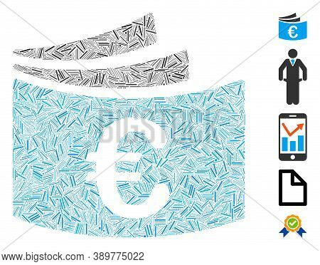 Hatch Mosaic Based On Euro Checkbook Icon. Mosaic Vector Euro Checkbook Is Designed With Randomized