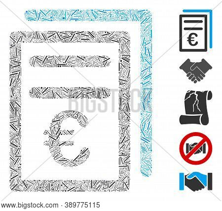 Dash Mosaic Based On Euro Invoices Icon. Mosaic Vector Euro Invoices Is Designed With Random Dash It