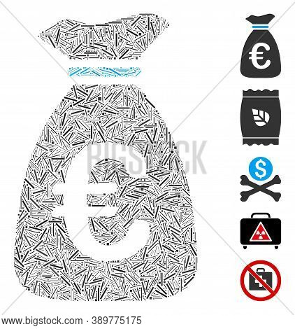 Dash Mosaic Based On Euro Money Bag Icon. Mosaic Vector Euro Money Bag Is Composed With Scattered Da
