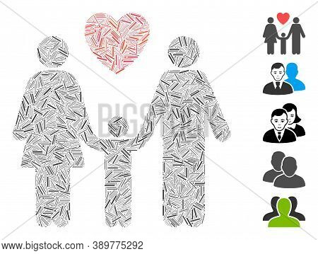 Line Mosaic Based On Family Love Icon. Mosaic Vector Family Love Is Composed With Randomized Line El