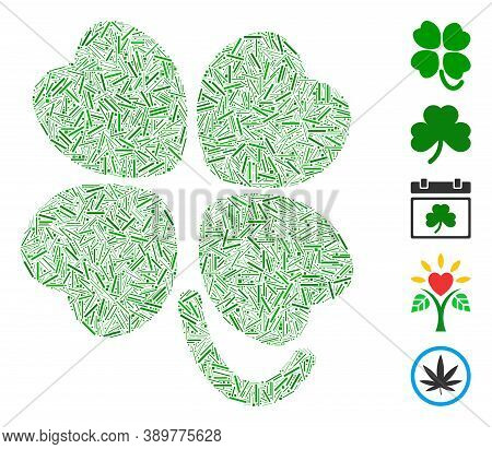 Dash Mosaic Based On Four-leafed Clover Icon. Mosaic Vector Four-leafed Clover Is Formed With Random