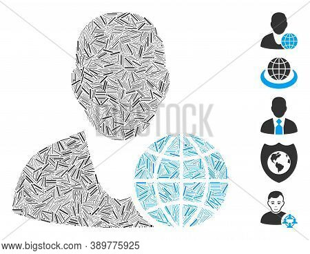 Hatch Mosaic Based On Global Manager Icon. Mosaic Vector Global Manager Is Designed With Scattered H
