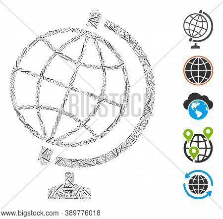 Hatch Mosaic Based On Global Icon. Mosaic Vector Global Is Created With Random Hatch Dots. Bonus Ico