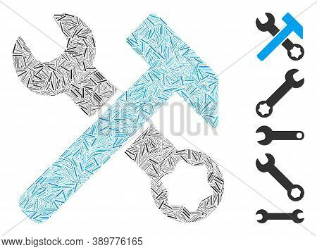 Dash Mosaic Based On Hammer And Wrench Icon. Mosaic Vector Hammer And Wrench Is Created With Random