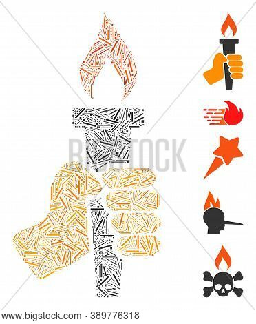 Hatch Mosaic Based On Hand With Fire Torch Icon. Mosaic Vector Hand With Fire Torch Is Formed With R