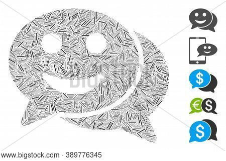 Dash Mosaic Based On Happy Chat Icon. Mosaic Vector Happy Chat Is Created With Randomized Dash Dots.
