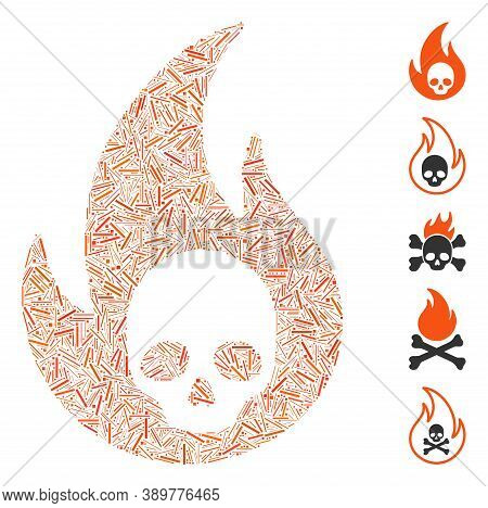 Dash Collage Based On Hell Fire Icon. Mosaic Vector Hell Fire Is Designed With Scattered Dash Elemen