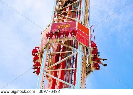 October 6, 2020 In Las Vegas, Nv:  Big Shot Thrill Ride Where People Get Lifted Up 150 Feet In Secon