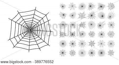 Set With Spider Web Icons. Halloween Decoration With Cobweb. Spiderweb Flat Vector Illustration. Iso