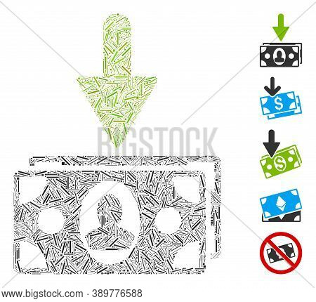 Line Mosaic Based On Income Banknotes Icon. Mosaic Vector Income Banknotes Is Formed With Randomized