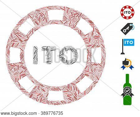 Hatch Mosaic Based On Ito Token Icon. Mosaic Vector Ito Token Is Formed With Random Hatch Items. Bon