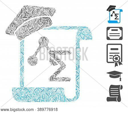 Line Mosaic Based On Knowledge Manuscript Icon. Mosaic Vector Knowledge Manuscript Is Created With R