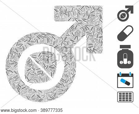 Line Mosaic Based On Male Potency Tablet Icon. Mosaic Vector Male Potency Tablet Is Designed With Sc