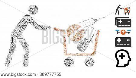 Hatch Mosaic Based On Medical Shopping Icon. Mosaic Vector Medical Shopping Is Formed With Randomize