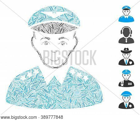 Line Mosaic Based On Military Pilot Officer Icon. Mosaic Vector Military Pilot Officer Is Designed W
