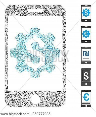 Hatch Mosaic Based On Mobile Bank Setup Icon. Mosaic Vector Mobile Bank Setup Is Composed With Rando