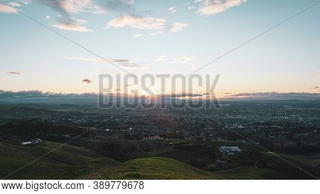 City Landscape At Sunset Of Hastings. View From Te Mata Peak, Hawke's Bay, New Zealand