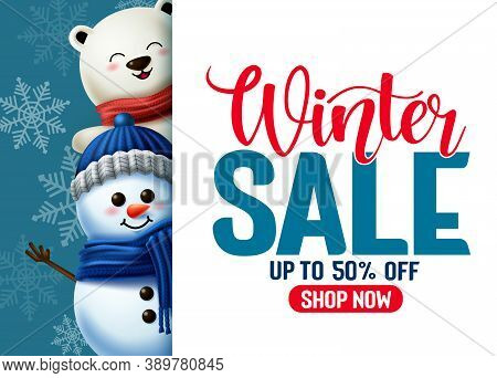 Winter Sale Vector Template Banner. Winter Sale Typography In White Empty Space For Text With 3d Sno