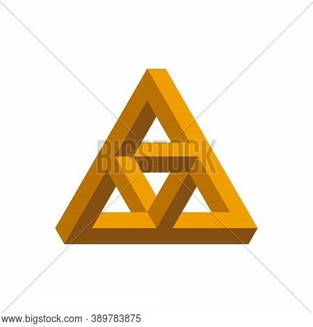 Penrose Triangle. Impossible Shape. Optical Illusion. Vector Illustration.