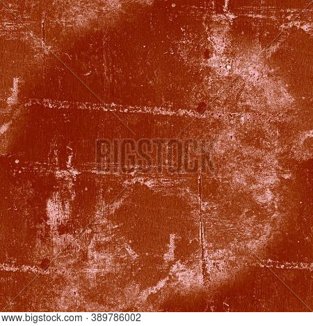 Red Dirt Grunge Wallpaper. Graphic Paint Brush Texture. Abstract Dust Cement. Old Grain Illustration