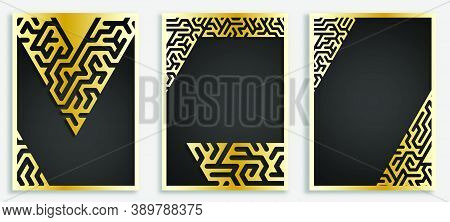 Geometric Set Of Illustrations For Print, Cover. Abstract Gold Mazes. Design For Minimalist Art. Vec