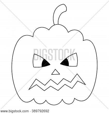 Pumpkin. Sketch. Ominous Grimace. Halloween Symbol.vector Illustration. Coloring Book For Children.