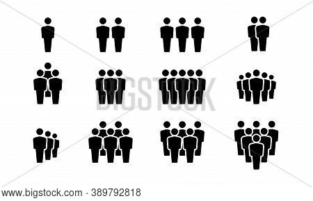 Simple Vector Illustration Of A Group Of People. Silhouette Icon Of People Forming Group. People Lin