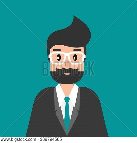 Businessman Or Attorney. Flat Vector Illustration On Blue Background. Law Consulting, Juridical Help
