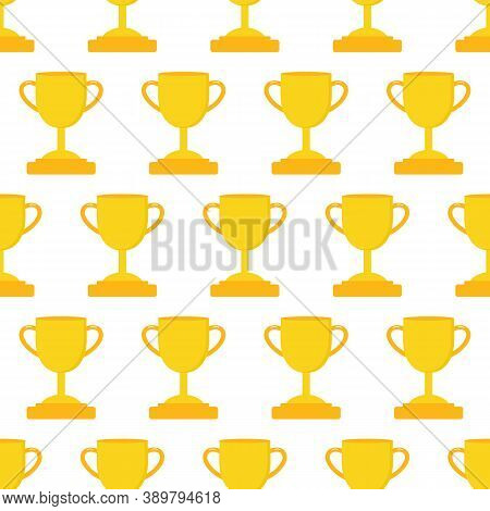 Golden Trophy Cups Vector Seamless Pattern Background. Victory, Winner, Success Concept Background.