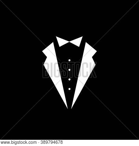 Gentleman Avatar Isolated On Black Background. Bow Tie With Buttons And Black Suit Or Tuxedo.