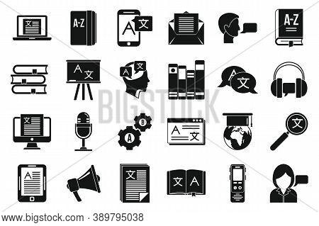 Linguist Translate Icons Set. Simple Set Of Linguist Translate Vector Icons For Web Design On White