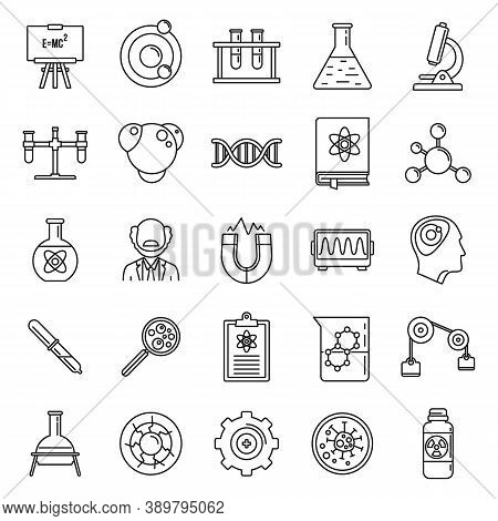Nuclear Biophysics Icons Set. Outline Set Of Nuclear Biophysics Vector Icons For Web Design Isolated