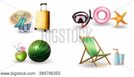 Realistic Summer Symbols Set. Collection Of Realism Style Drawn Travel Suitcases Starfish Hats Scuba