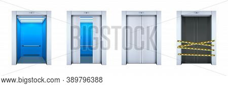 Realistic Office Lifts Set. Collection Of Realism Style Drawn Modern Passenger Or Cargo Elevators Wi