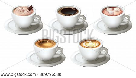 Realistic Coffee Cups Set. Collection Of Realism Style Drawn Sorts Of Drinks Hot Beverages Latte Cap
